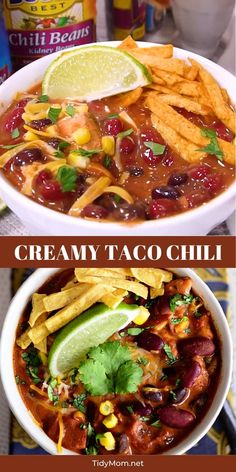 This flavorful Creamy Taco Chili is packed with lots of beans, chicken and other taco inspired ingredients. 👆 CLICK title or the 👇 VISIT button below PRINT RECIPE at TidyMom.net The perfect way to warm up on a chilly day!