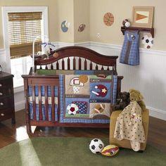 Blue Sports Baby BOY Football Baseball Discounted 11P Bundle Nursery Bedding SET   eBay