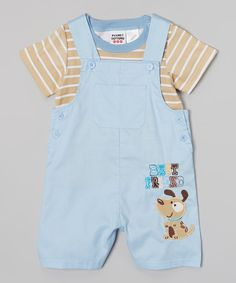 Look at this Peanut Buttons Brown Stripe Tee & Blue 'Best Friend' Puppy Overalls - Infant on #zulily today!