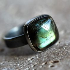 ...Labradorite Ring, oxidized recycled Argentium Sterling