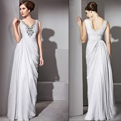 Unique Gray Grey Chiffon V Neck Formal Evening Gowns Occasion Dresses SKU-122131`