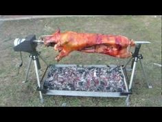 Whole Hog Rotisserie Spit by PigOut Roasters Carne Asada, Bbq Spit, Fire Pit Cooking, Rotisserie Grill, Diy Grill, Pig Roast, Outdoor Cooking, Etsy Uk, Party Recipes