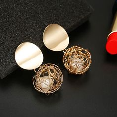 New Arrival Golden Color Round Ball Geometric Stud Party Earrings For Women. #jewelry #earring