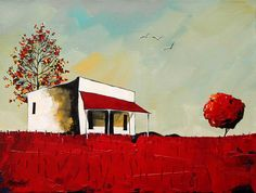 Artwork of Glendine exhibited at Robertson Art Gallery. Original art of more than 60 top South African Artists - Since Flower Artwork, Bird Artwork, House Paintings, Art Houses, South African Artists, Acrylic Artwork, Landscape Artwork, Naive Art, Gustav Klimt