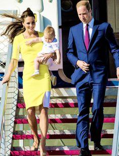 The Duke, Duchess, and Prince of Cambridge arriving in Australia, April 2014 #katemiddleton #princegeorge