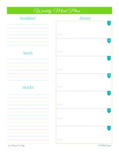 New Subscriber Thank You  Meal Planning Printable Weekly Meals