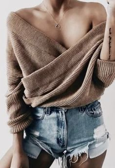 rib cross front sweater + denim shorts