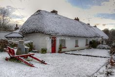Ireland of the Welcomes Adare, County Limerick Irish Cottage, Old Cottage, Cottage Homes, Christmas In Ireland, Irish Christmas, Limerick Ireland, Ireland Pictures, Thatched Roof, Emerald Isle