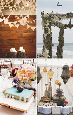 Wedding Decor  White Pendants and Lights: 100 Layer Cake  Drift wood chuppah: Green Wedding Shoes  Popup table numbers: Grey Likes Weddings  Hanging Lanterns: Green Wedding Shoes