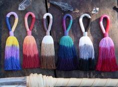 "Triple Ombre Tassel, in Purple, Fuchsia, Red Colorway. Long, Handmade Cotton Tassel, 5.5"" Designer Quality, Jewelry Making Charm, Supply"