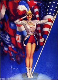 1940s-Pin-Up-Girl-Majorette-American-Picture-Poster-Print-Art-Vintage-Pin-Up