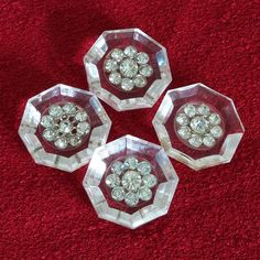 Vintage 1950s Rhinestone Buttons Lucite Octagonal Set