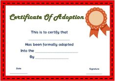 Blank Adoption Certificate Template  Blank Adoption Certificate