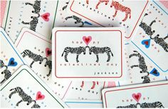 Free Valentines printables - the zebras are cute for boys and girls