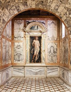 Painting of Andrea Mantegna's Saint Sebastian in the Galleria Giorgio Franchetti alla Ca' d' Oro. The artwork is found in the Late-Gothic palazzo in Venice. | Architectural Digest, July 2015