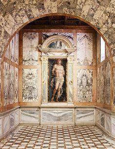 Painting of Andrea Mantegna's Saint Sebastian in the Galleria Giorgio Franchetti alla Ca' d' Oro. The artwork is found in the Late-Gothic palazzo in Venice. | Architectural Digest, July 2015