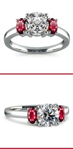 Two perfectly matched oval cut ruby gemstones are prong set in this platinum gemstone engagement ring setting, accenting your choice of center diamond (not included).