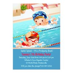 Boys Pool Party Birthday Invites Boy On Inflatable