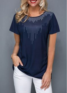Stylish Tops For Girls, Trendy Tops, Trendy Fashion Tops, Trendy Tops For Women Page 13 Navy Blue T Shirt, Trendy Tops For Women, Stylish Tops For Girls, One Piece Swimwear, Shirt Sale, Half Sleeves, Fashion Outfits, Refashioned Clothes, Diy Shirt