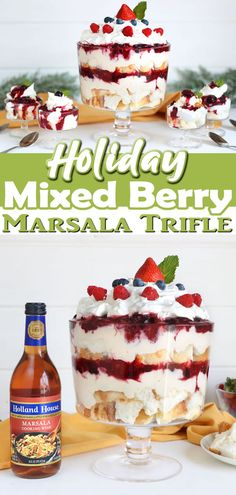 Holiday Mixed Berry-Marsala Trifle This is a lightened up holiday dessert is perfect for making ahead and so quick and easy! Ready in under 30 minutes try our recipe for Mixed Berry-Marsala Trifle mad Mini Desserts, Trifle Desserts, Desserts To Make, Holiday Desserts, Holiday Recipes, Best Easy Dessert Recipes, Delicious Desserts, Cake Recipes, Amazing Recipes