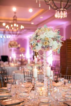 Tall Modern Glamorous Rose and Hydrangea Centerpiece | wedding planning and design by http://www.outstanding-occasions.com/ | floral design by http://www.azpetalpusher.com/ | photography by http://www.melissajill.com/