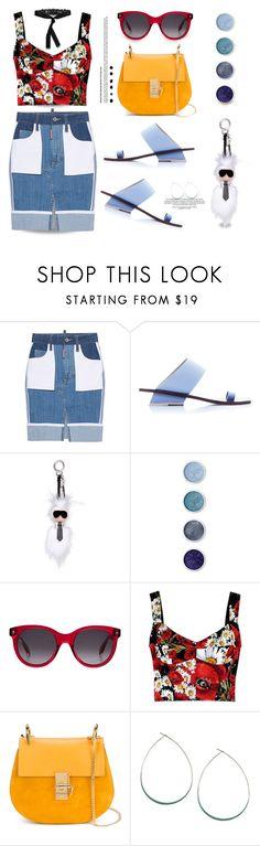 """Denim Skirt..."" by unamiradaatuarmario ❤ liked on Polyvore featuring Dsquared2, Abcense, Fendi, Terre Mère, Alexander McQueen, Dolce&Gabbana, Chloé, Orelia and Etro"