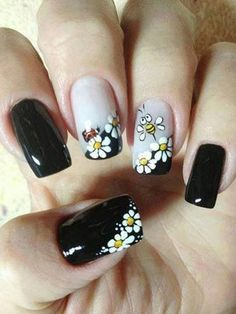 Flower Nail Art Designs Black Nails, White Floral, Bee and Lady Bug Nail DesignBlack Nails, White Floral, Bee and Lady Bug Nail Design Fancy Nails, Trendy Nails, Nail Polish Designs, Nail Art Designs, Design Art, Pedicure Designs, Bee Design, Floral Design, Design Ideas