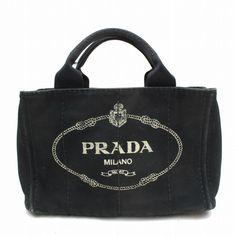 55c6043166bc59 (eBay link) Authentic Prada Tote Bag Canapa tote Black Canvas 277027  #fashion #