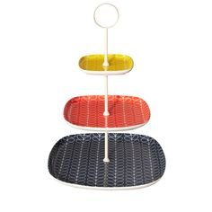 Orla Kiely: Cake stand in Linear Stem design with three brightly coloured tiers.