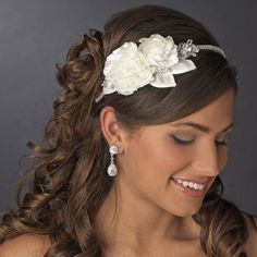 Rhinestone & Flower Accented Side Bridal Headband