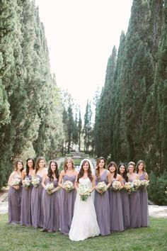 Love this beautiful real Donna Morgan wedding featuring the Laura, Emily, and Ju. - Love this beautiful real Donna Morgan wedding featuring the Laura, Emily, and Julie gowns in Grey Ridge Lavender Bridesmaid Dresses, Grey Bridesmaids, Wedding Dresses, Bridesmaid Poses, Bridesmaid Color, Bridesmaid Outfit, Bouquet Wedding, Mod Wedding, Dream Wedding
