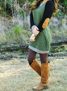 I love all the colors and the elbow patches are cute. Tights and boots :)