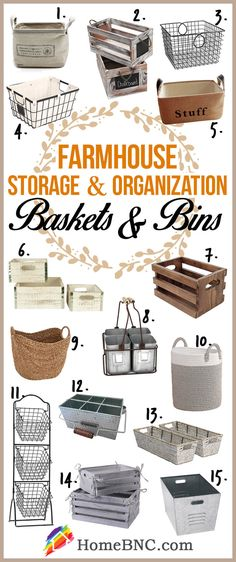 Farmhouse baskets and bins