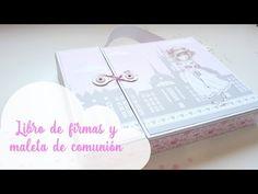 Libro de firmas y maleta de comunión scrapbook | Guest book and suitcase | Scrapeando con Rocío - YouTube