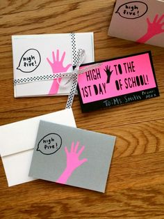 "This would be cute for CAG's 5th birthday idea - ""high five, it's my birthday!"" in pink and black"