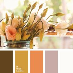 amarillo mostaza, amarillo y anaranjado, blanco, colores de otoño, combinación de colores para decorar interiores, coral claro, de color malva, malva claro, marrón, selección de colores para el diseño de interiores, tonos pastel de primavera, zanahoria claro.