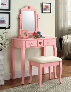 Furniture Of America Francine Pink Vanity Table Set With UPH Stool And Mirror | eBay
