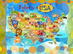 """""""Explore the USA!"""" Personalized Canvas Wall Art from Oopsy Daisy, Fine Art for Kids. Sizing starts at 30''x24''. Additional sizes and framing options available. Personalize this wall art to make the perfect memorable gift and keepsake for your child. Browse our entire collection of wall art for kids!"""