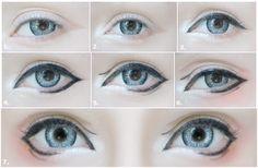 Big Eye Circle Lenses: Korean Skin Care & Makeup - More in : Anime Eyes Makeup Tutorial using I-Codi Snowman Lenses & Role Switching Black Liner Anime Eye Makeup, Anime Cosplay Makeup, Lolita Makeup, Doll Eye Makeup, Anime Make-up, Anime Eyes, Kawaii Makeup, Cute Makeup, Smokey Eye Makeup