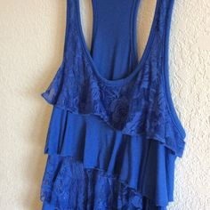 Lace ruffle tank top!SALE! Cute blue tank top, with alternating Ruffles that are lace. Used, but still has a lot of life left.  ❤️bundle 3 or more items from my closet and receive 15% off!!!❤️ Tops Tank Tops