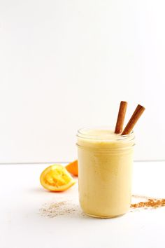 Yogurt orange smoothie with vanilla and cinnamon