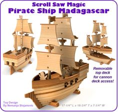 Scroll Saw Magic Pirate Ship Madagascar Wood Toy Plan Set