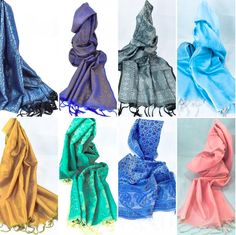 Statement art silk scarves in the color of your choice to match with your outfit. Create a new style everyday with these colorful pieces!  #Colorriot #Green #Blue #Black #Gold #Pink #Azure #StPattys #Etsyseller #EtsyCanada #Ornify