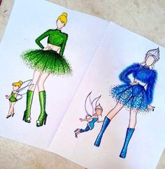 Fashion Design Sketches 762375043148220714 - Tinkerbell & Periwinkle [also as humans] (Drawing by JoeslleyRocha 😊 😊) Source by FashionAfro App Drawings, Cool Art Drawings, Amazing Drawings, Drawing Sketches, Cute Disney Drawings, Kawaii Drawings, Drawing Disney, Fashion Design Drawings, Fashion Sketches
