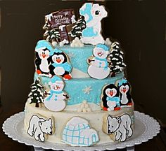 Penguin Family/Winter Theme Cookie Cake - would be adorable for a winter onederland or winter wonderland party. So cute to use cookies for decorations. Birthday Invitations Kids, Birthday Party Themes, Birthday Cakes, Birthday Ideas, Winter Wonderland Party, Winter Onederland, Penguin Party, Animal Cakes, Cupcake Cakes