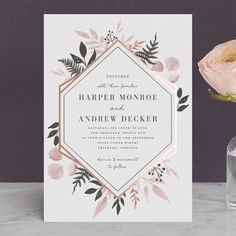 Floral ampersand wedding invitation design by minted artist hanna shade garden foil pressed wedding invitations in ink by robin stopboris Image collections