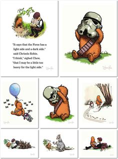 Wookiee the Chew - Miniprint Set by James Hance. Unbelievably cute Pooh/Star Wars cross <3