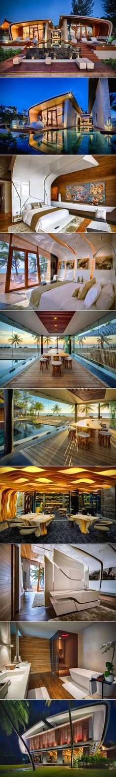 Iniala Beach House in Phuket, Thailand - treat your senses to any of the10 villas, but two of them – handled by A-cero – are especially noteworthy for their unique charm and layout. Both rooms offer decadent ocean views through massive windows, while the floors and the walls of the rooms are built with natural local wood. Amazing! I must go here one day!