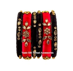 Yaalz Silk Thread Kundan Stone Bangle Set In Black & Red Colors Silk Thread Earrings Designs, Silk Thread Bangles Design, Silk Bangles, Bridal Bangles, Thread Jewellery, Fabric Jewelry, Wedding Chura, Kundan Set, Brocade Blouses