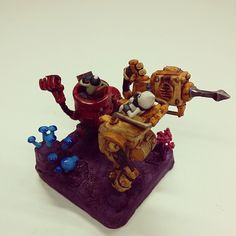 Gem miners! 3 #sculpey #sculpture #polymer #robot #mecha #metal #rust #scifi #engine #drill #technology #creation #craft #comic #monster #miner #clay